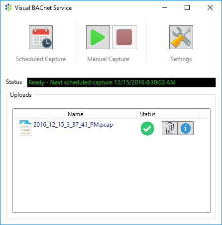 Schedule packet captures in the VisualBACnet Capture Service